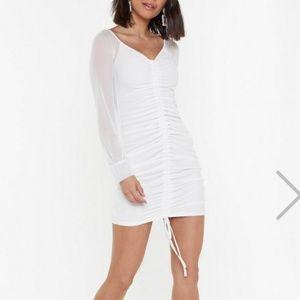 NastyGal Mesh Sleeve Ruched Mini Dress
